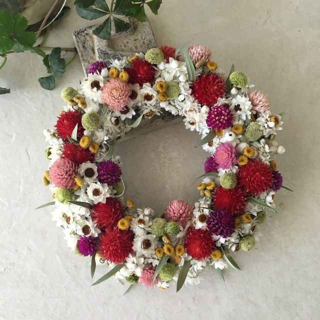 naturel wreath   千日紅