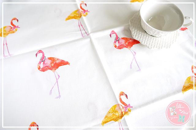 【Ellie&M's fabric】 フラミンゴパーティ コットン生地