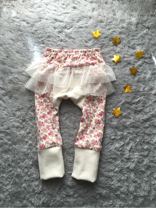 小さなお花のふりふりモンキースパッツ90