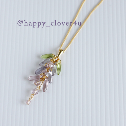 藤の花ネックレス(あわべに)・ライトアメジストカラー/n267