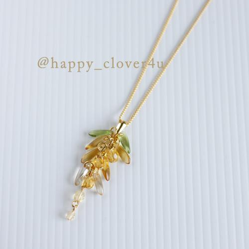 藤の花ネックレス(きんぐさり)・トパーズカラー/n268