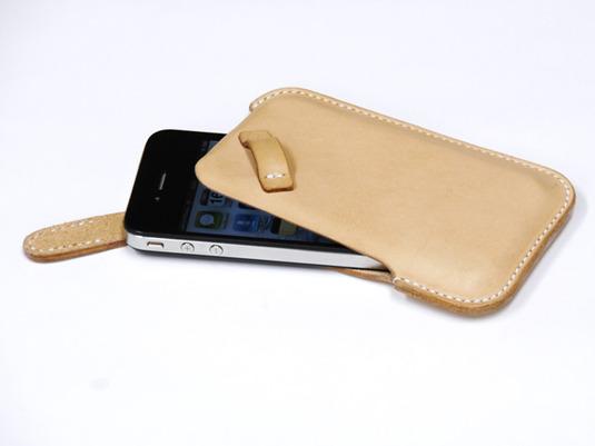 ハンドメイド iPhone4・4S用 レザーケース(ヌメ)