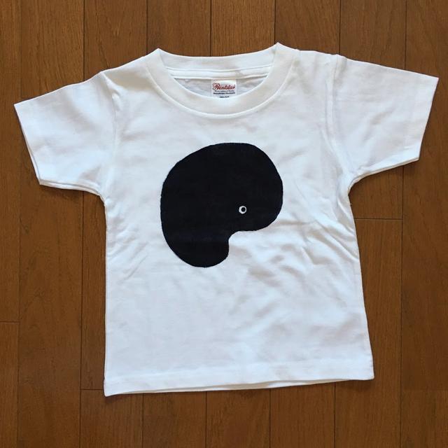 手書きTシャツ「たましいちゃん」KIDS100ホワイト