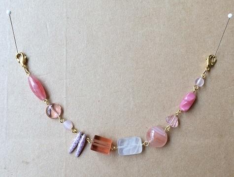 ピンクチェコビーズ 羽織紐