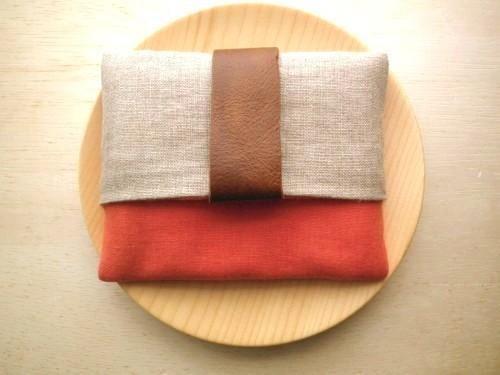 ポケットティッシュケース ( coral & beige  )