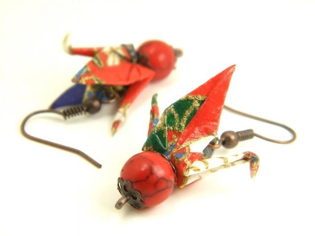 オリガミピアス・鶴(Tsuru Y18BOT2CBr)