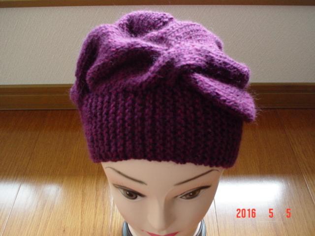 ☆彡巾広ケーブルとお花のアラン模様の帽子(ワインレッド)