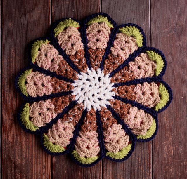 お花の円座 リバーシブル 33.5cm