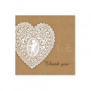 (四角SH1)〈Thank youシール四角〉☆ハートのレース《クラフト紙風》