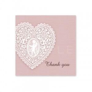 (四角SH2)〈Thank youシール四角〉☆ハートのレース《ピンク01》
