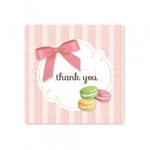 (四角SH4)〈Thank youシール四角〉マカロンとリボン ストライプ《ピンク02》