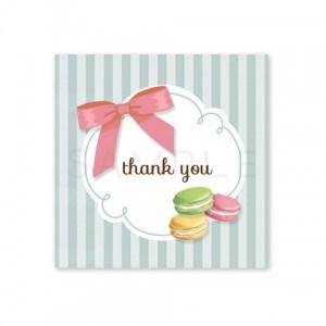 (四角SH5)〈Thank youシール四角〉☆マカロンとリボン ストライプ《水色》