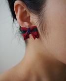 編みりぼんピアス 緑×青