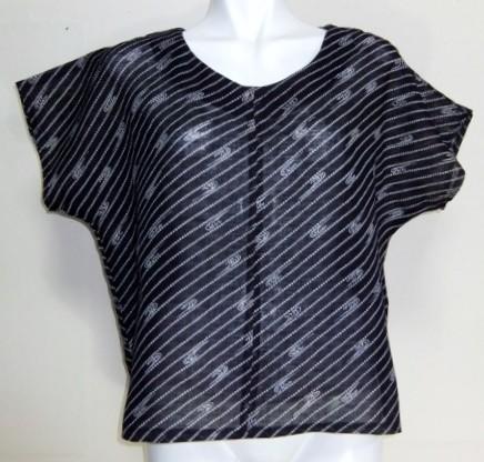 着物リメイク 綿の薄物の着物で作ったTシャツ 1396