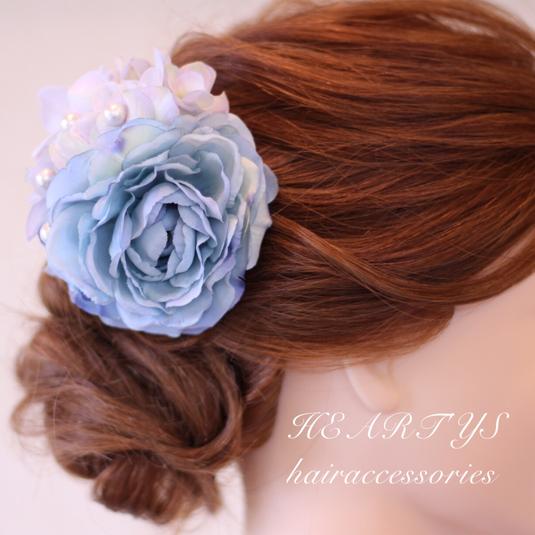 *ブルーラナンとコットンパールの髪飾り♪【送料無料】