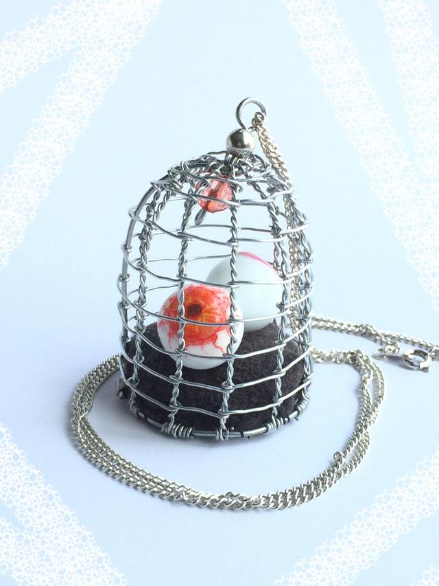 鳥かごの目玉(小) ピンク&ゾンビ