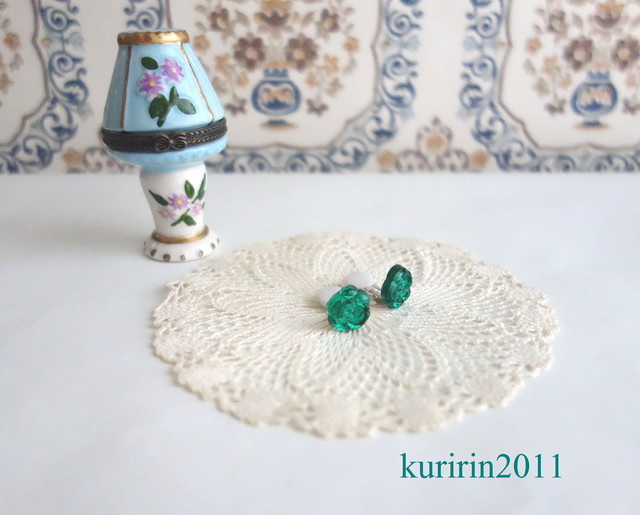 ☆Vintage☆Green rose earing