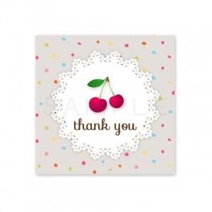 (四角SH14)〈Thank youシール四角〉☆さくらんぼと丸レース《カラフル水玉》