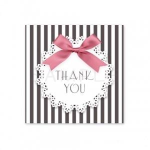 (四角SH15)〈Thank youシール四角〉☆リボン&ストライプ 丸レース《黒×ピンク・Thank you》