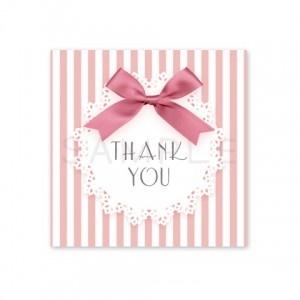 (四角SH17)〈Thank youシール四角〉☆リボン&ストライプ 丸レース《ピンク・Thank you》