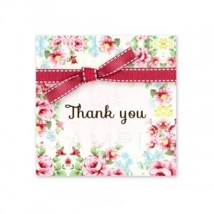 (四角SH18)〈Thank youシール四角〉☆カラフルな花模様と赤いリボン《01・Thank you》