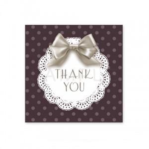 (四角SH20)〈Thank youシール四角〉☆艶やかリボンと丸レース《ブラック系水玉・Thank you》