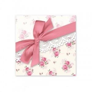 (四角SH22)〈ショップシール四角〉☆リボン&ローズパターン《ピンク・ホワイト02》