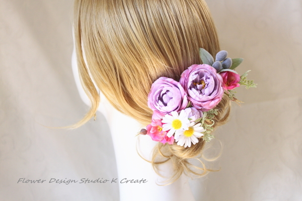 薔薇とマーガレットのヘッドドレス(8本セット)