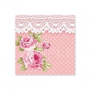 (四角SH26)〈ショップシール四角〉☆ロマンティックなお花と水玉レース《ピンク系02》