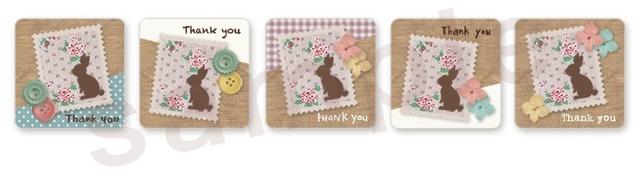 (四角SH30)〈Thank youシール四角〉☆バラエティセット うさぎの切手1《 Thank you 》