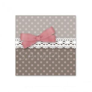 (四角SH36)〈ショップシール四角〉☆リボン&水玉 ロマンティック《ピンク&グレイ04》