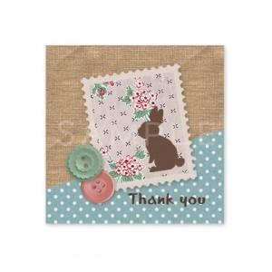 (四角SH38)〈Thank youシール四角〉☆うさぎの切手コラージュ風《ブルー水玉01》