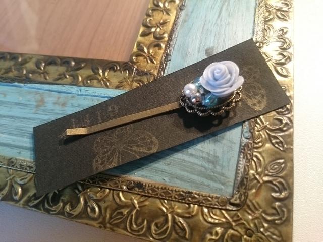 手作り粘土バラのヘアピン