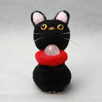 フェルト招き猫「福にゃん黒 ローズク...