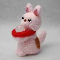 フェルト招き猫「福にゃんピンク ロー...