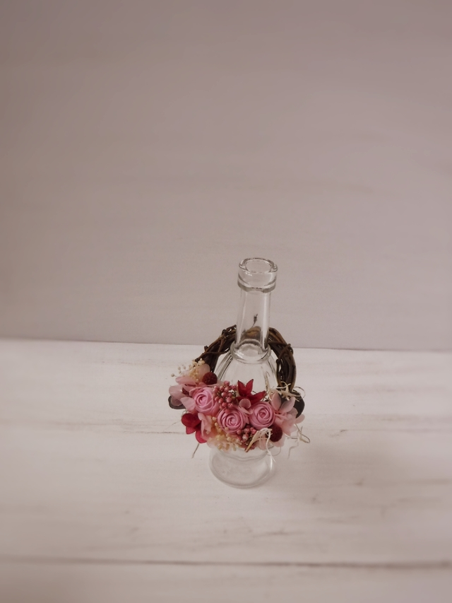 フレグランスボトルリース(まりバラ、ピンク)