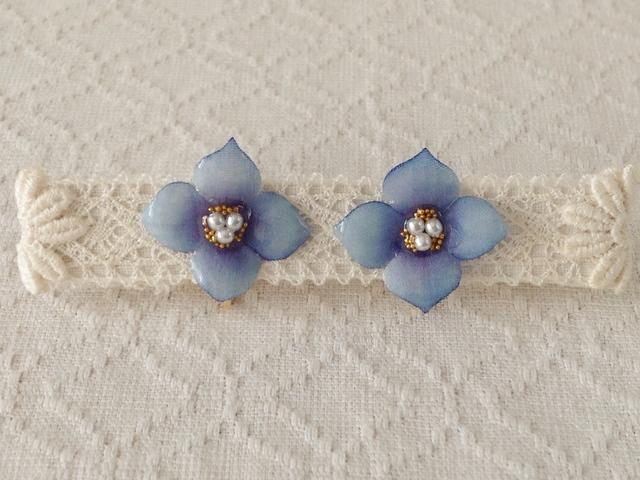 染め花を樹脂加工した紫陽花イヤリング( S・青紫)