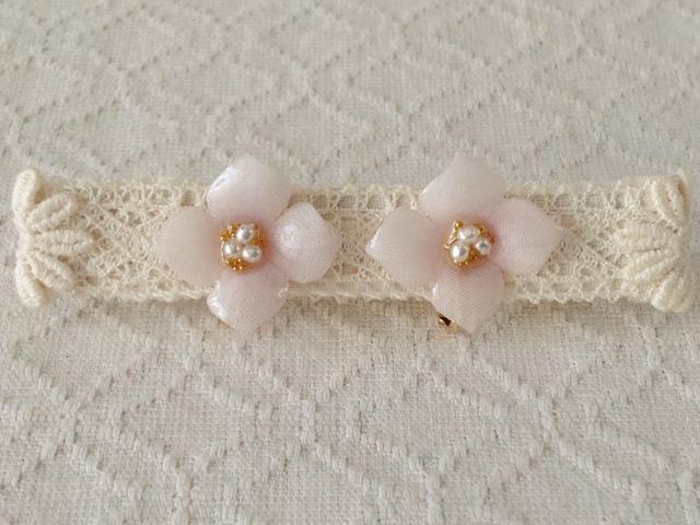 染め花を樹脂加工した紫陽花イヤリング( S・淡ピンク)