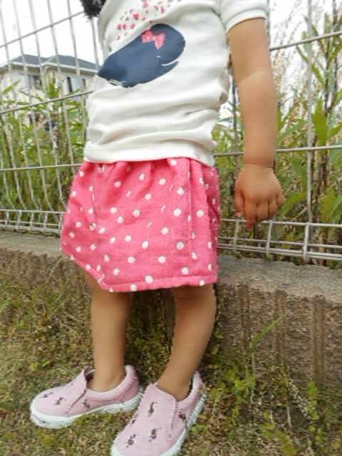 Saleフラッフィードットpink*Wガーゼで作ったズボン付きスカート