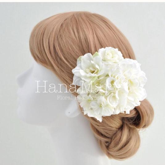 ホワイト系ダリアの髪飾り