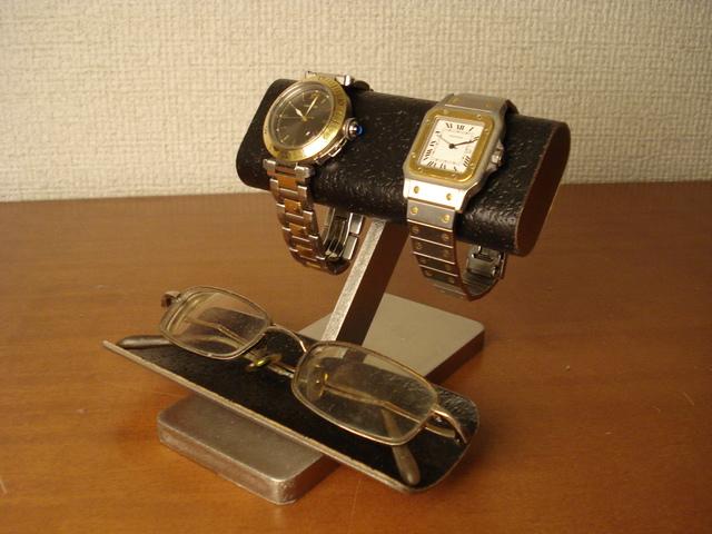 腕時計スタンド ブラックコルクだ円パイプ腕時計&眼鏡スタンド