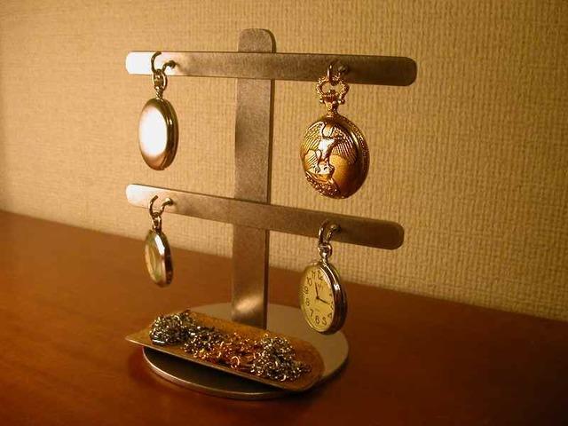 懐中時計スタンド 4本掛け2段懐中時計スタンド※トレイ付