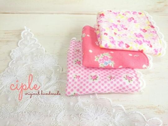 《miniガーゼハンカチ》花柄・ピンク15cm3枚set?