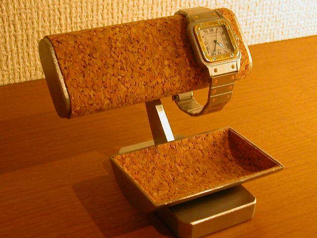ウォッチスタンド だ円パイプ腕時計2本掛けトレイ付き腕時計スタンド[