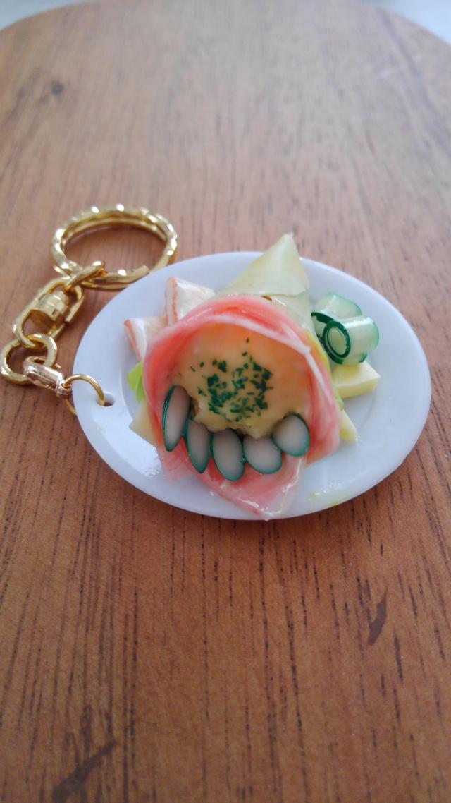 ☆生ハム&卵のクレーププレートのキーホルダー!