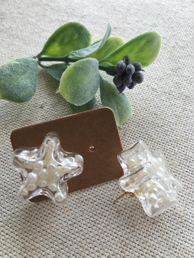 パールいっぱいの星のガラスドーム チタンピアス