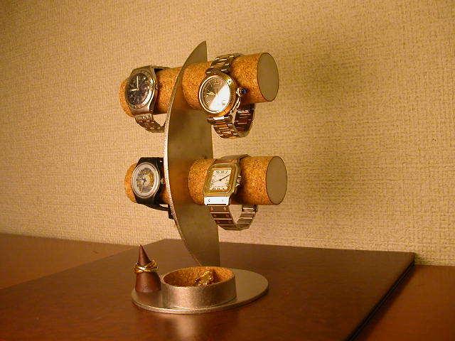 三日月腕時計ディスプレイスタンド!トレイ、指輪スタンド付き