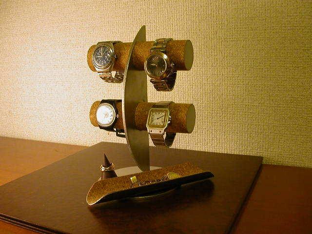 ウォッチスタンド 三日月腕時計スタンド ロングトレイ、指輪スタンド付き