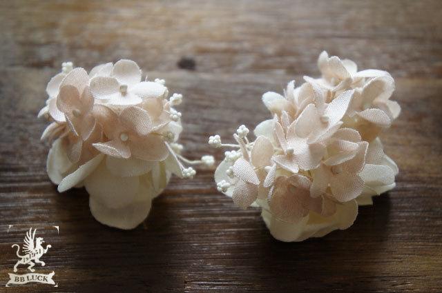earring 【 紫陽花とカスミソウのイヤリング * pink 】