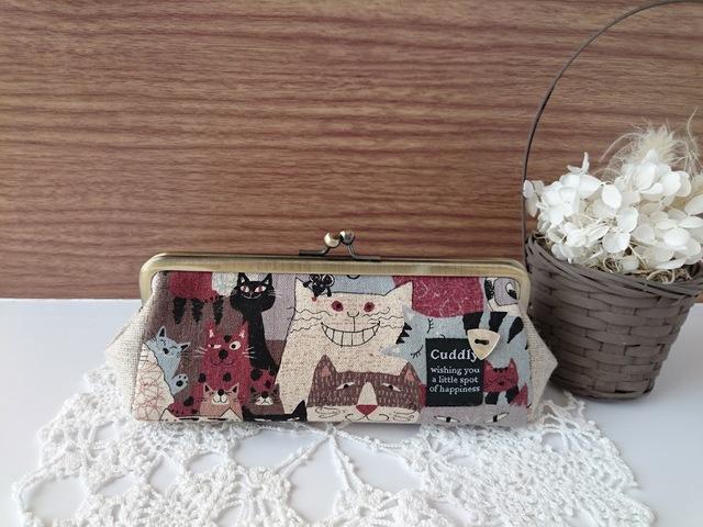 sabian様オーダー品*猫の集会3枚剥ぎペン&メガネケース(ブラウン)